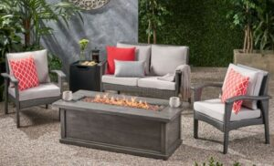 Kingsfield love seat and chairs with fire pit