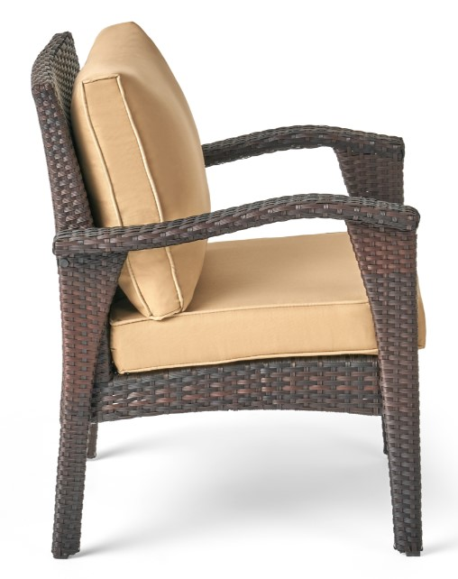 Patio Chat Sets with Fire Pit-Leiyani chair in brown