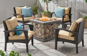 Leiyani chat set with fire pit in brown-Discover