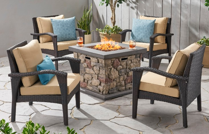 Leiyani Club Chair Patio Chat Sets with Fire Pit