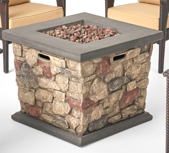 Patio Chat Sets with Fire Pit-Leiyani fire pit in brown