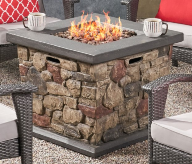 Patio Chat Sets with Fire Pit-Leiyani fire pit in tan