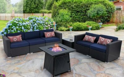 MF Studios Sectional Patio Sets with Gas Fire Pit Table