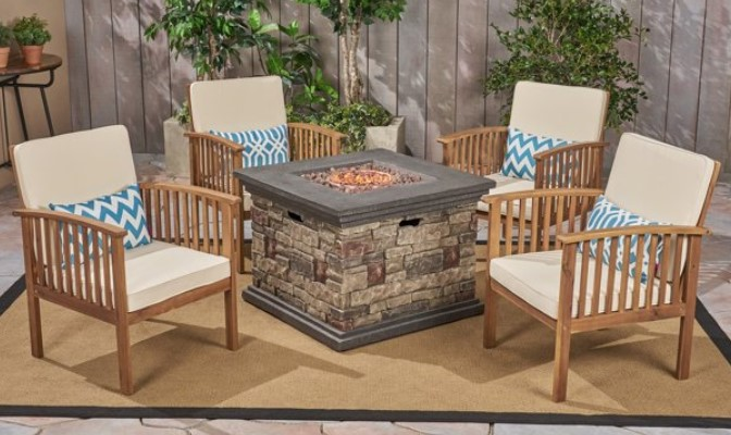 Tucson Acacia wood chairs with fire pit