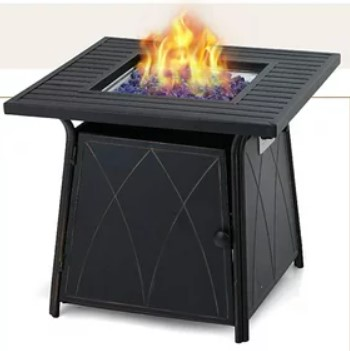 Patio Sets with Gas Fire Pit-MF Studio 28 inch Gas Fire Pit Table with blue glass fire rocks