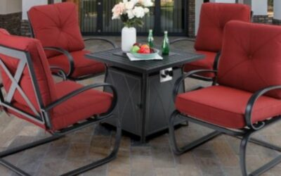 MF Studios Spring Chairs Patio Seating Sets with Fire Pit