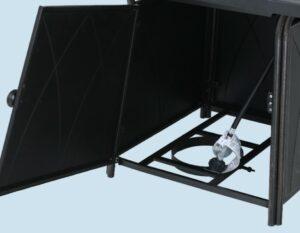 MF Studio fire pit door and tank storage