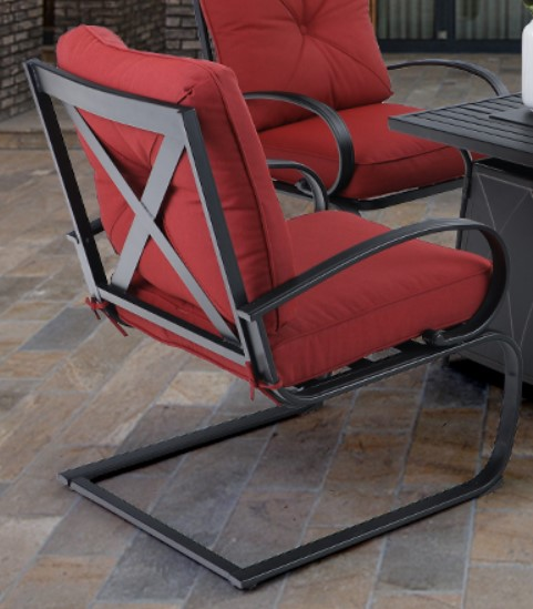 Patio Seating Sets with Fire Pit - MF Studio motion chair with red cushions