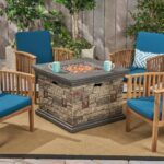 Tucson chat set with fire pit and dark teal cushions