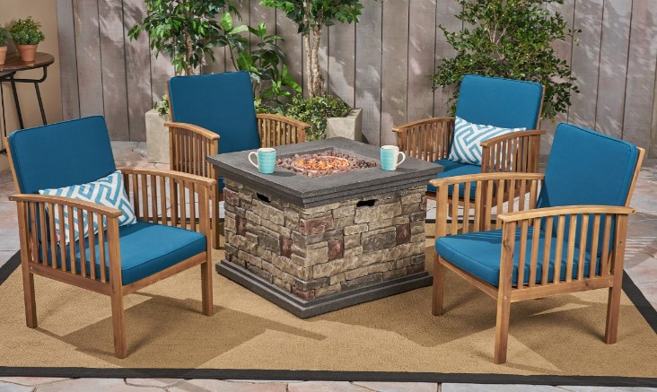 Tucson Acacia Wood Patio Set with Fire Pit