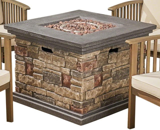 Tucson fire pit with stacked stone finish