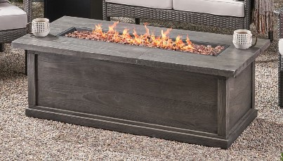 Conversation Set with a Fire Pit-Kingsfield Rectangular Gas Fire Pit