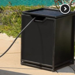 Conversation Set with a Fire Pit-Kingsfield square side table propane tank storage